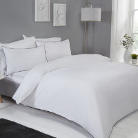 Contrast Piped Duvet Set Black White