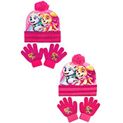 Official Girls Paw Patrol Pink Bobble Hat & Gloves Set