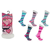 Snuggle Toes Ladies Heat Machine Socks Fur Lined Deer