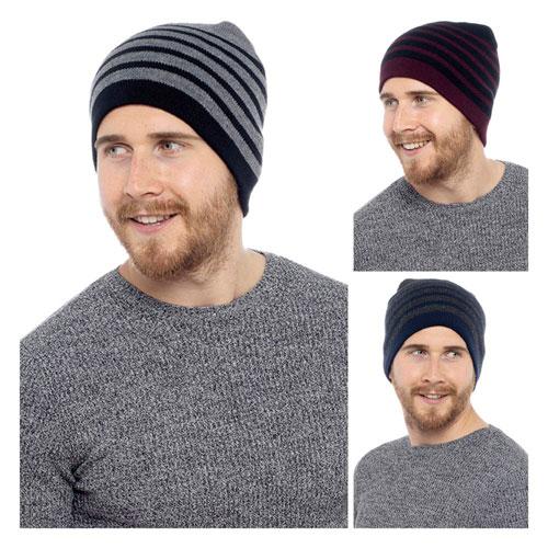 Mens Stripe Beanie Hat