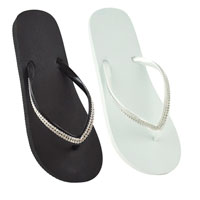Ladies Flip Flops with Diamante Strap