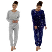 Ladies Foil Printed Star Twosie Pyjama Set