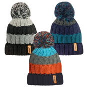 Rockjock Boys Striped Knitted Thermal Hat With Pom Pom