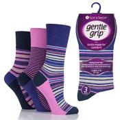 Ladies Gentle Grip Olivia Stripe Navy Pink Socks