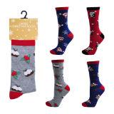 Ladies Cotton Rich Christmas Design Socks