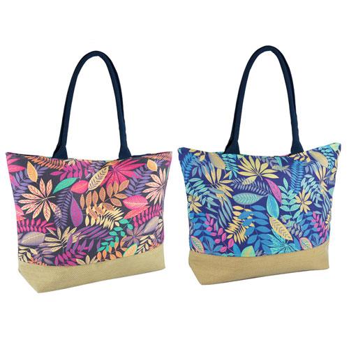Floral Print Cotton Beach Bag