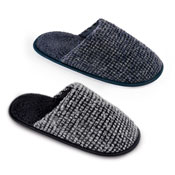 Mens Textured Chennile Mule Slippers