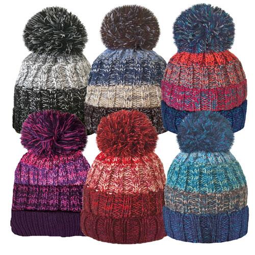 Unisex Stripe Bobble Hat With Cosy Fleece Liner