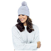 Ladies Studded Bobble Hat With Pom Pom