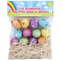 Easter Decorated Glitter Eggs And Grass 12 Pack
