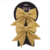 Two 16CM Glitter Sequin Bow Gold