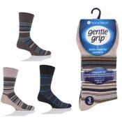 Mens Gentle Grip Socks Brown Stripe