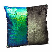 Sequin Filled Cushion Green & Black