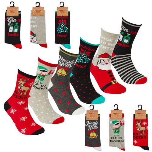 Ladies 1 Pack Xmas Design Socks
