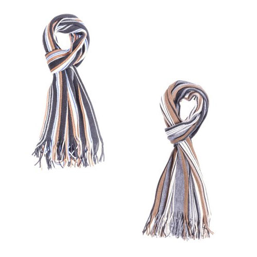 Mens Reversible Striped Scarf