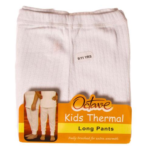 Kids Thermal Underwear Long Pants White