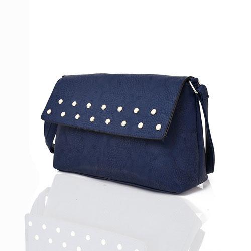 Willow Stud Flap Crossbody Bag Navy