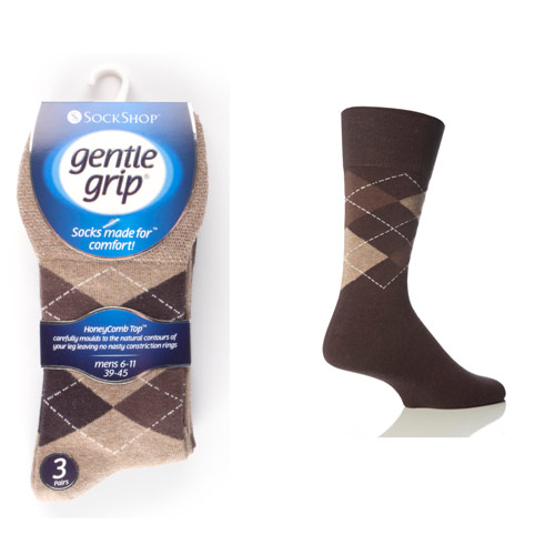 Mens Gentle Grip Socks Argyle Browns