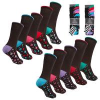 Ladies 5 Pack Heel & Toe Socks Heart Spots