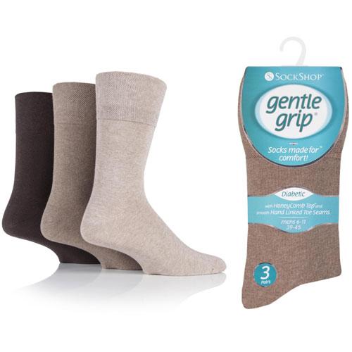 Mens Diabetic Gentle Grip Socks Brown Assortment