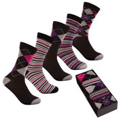 Pierre Roche Stripe Socks in a Box Ladies