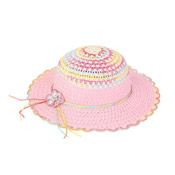 Girls Straw Hat with Diamante & Flowers