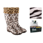 RJM Ladies Fleece Welly Liner Socks (Printed)