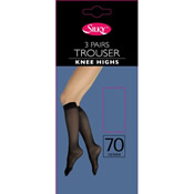 3 Pair Trouser Knee Highs Silky 70 Denier