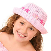 Girls Straw Hat With Flowers