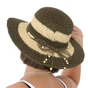 Ladies 2 Tone Straw Hat Wide Brim