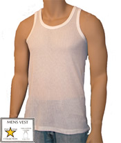 Mens Airtex Mesh Vests 5 star White