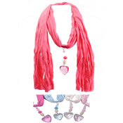 Charm Scarves with Crystal Heart