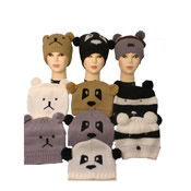 Knitted Animal Hat with Pom Poms