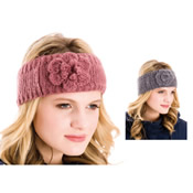 Headband with Rose Knitted