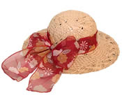 Ladies Straw Hat with Scarf